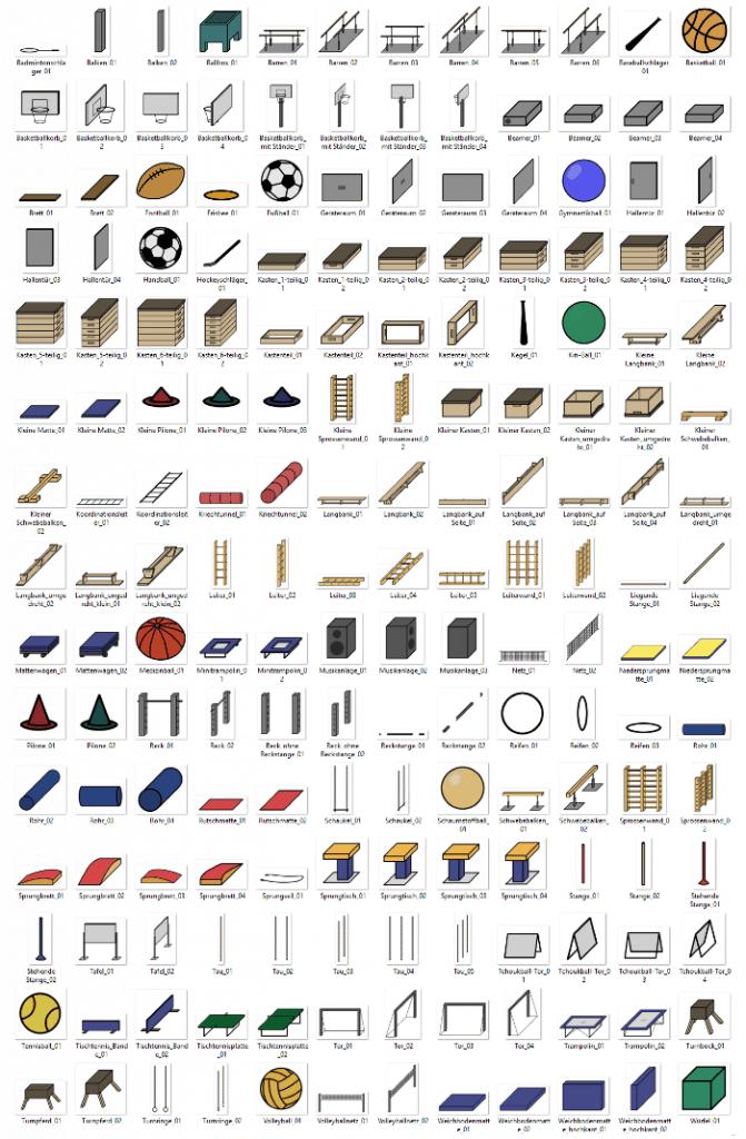 Alle Geräte des Geräteaufbauplaners in der Übersicht