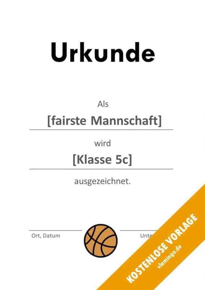 Urkunde - Vorlage (Basketball): Fair Play