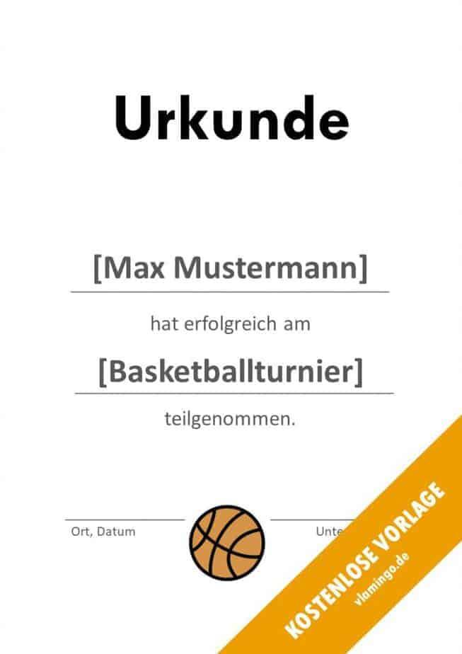 Urkunde - Vorlage (Basketball): Erfolgreiche Teilnahme