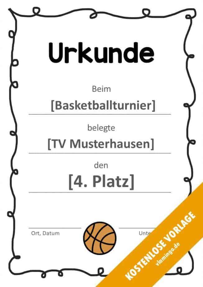 Urkunde - Vorlage (Basketball): Geschwungener Rahmen
