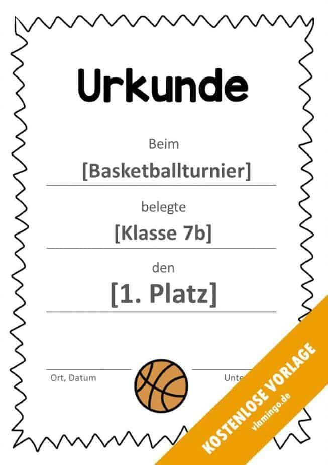 Urkunde - Vorlage (Basketball): Gezackter Rahmen
