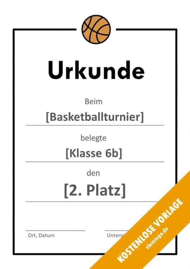 Urkunde - Vorlage (Basketball): Einfacher Rahmen