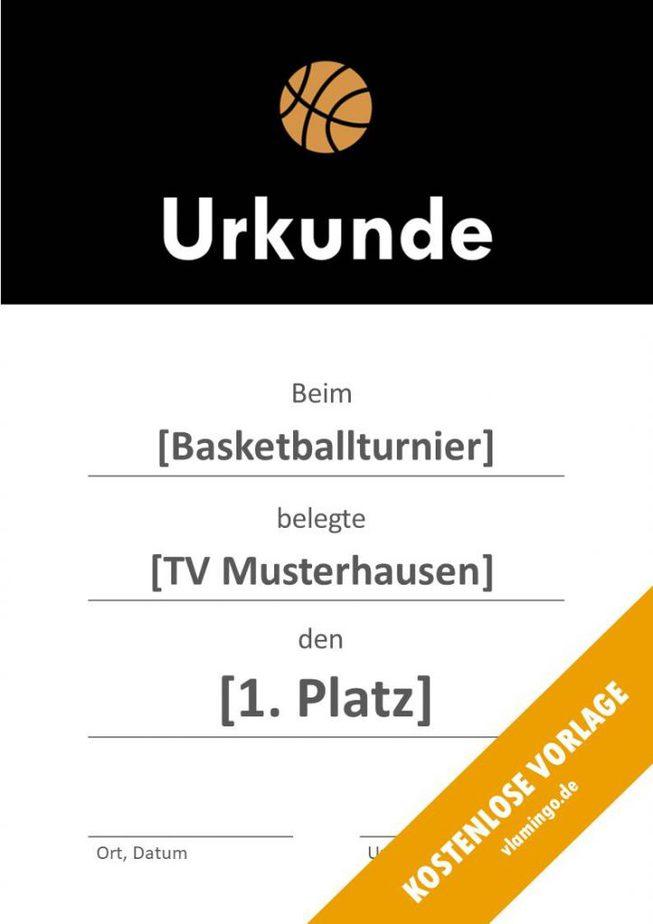 Urkunde - Vorlage (Basketball): Modern 1