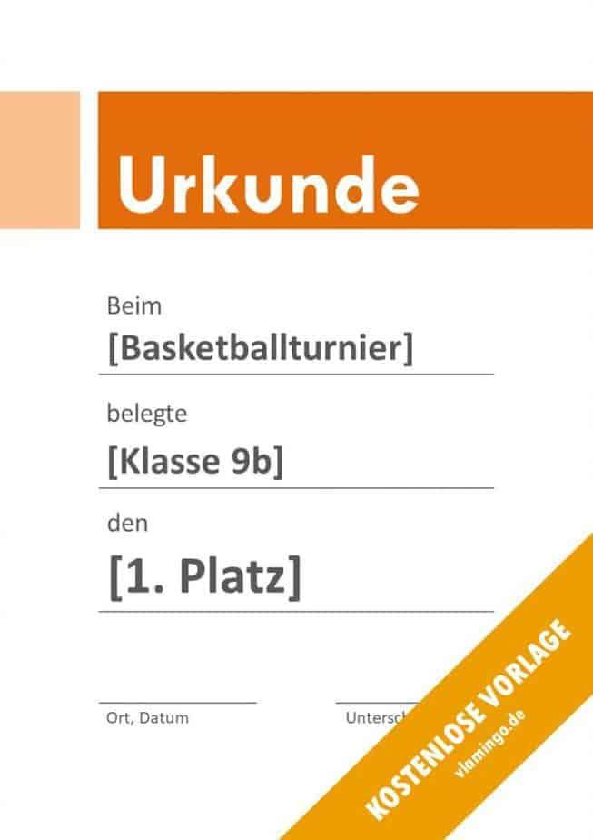 Urkunde - Vorlage (Basketball): Modern 4