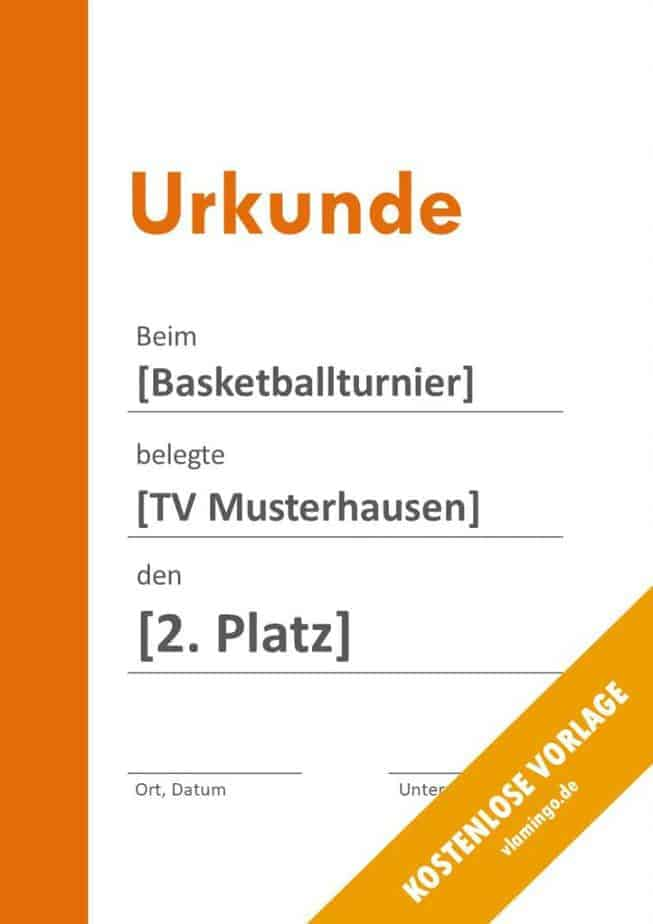 Urkunde - Vorlage (Basketball): Modern 5