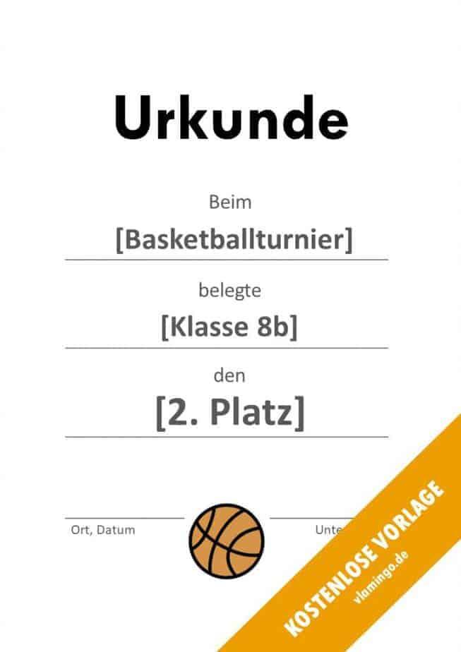 Urkunde - Vorlage (Basketball): Blanko (schlicht)