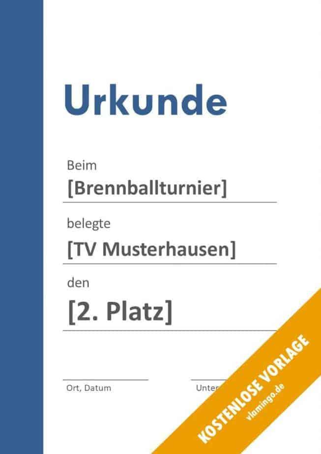 Brennball-Urkunde (Vorlage) - Banner links blau