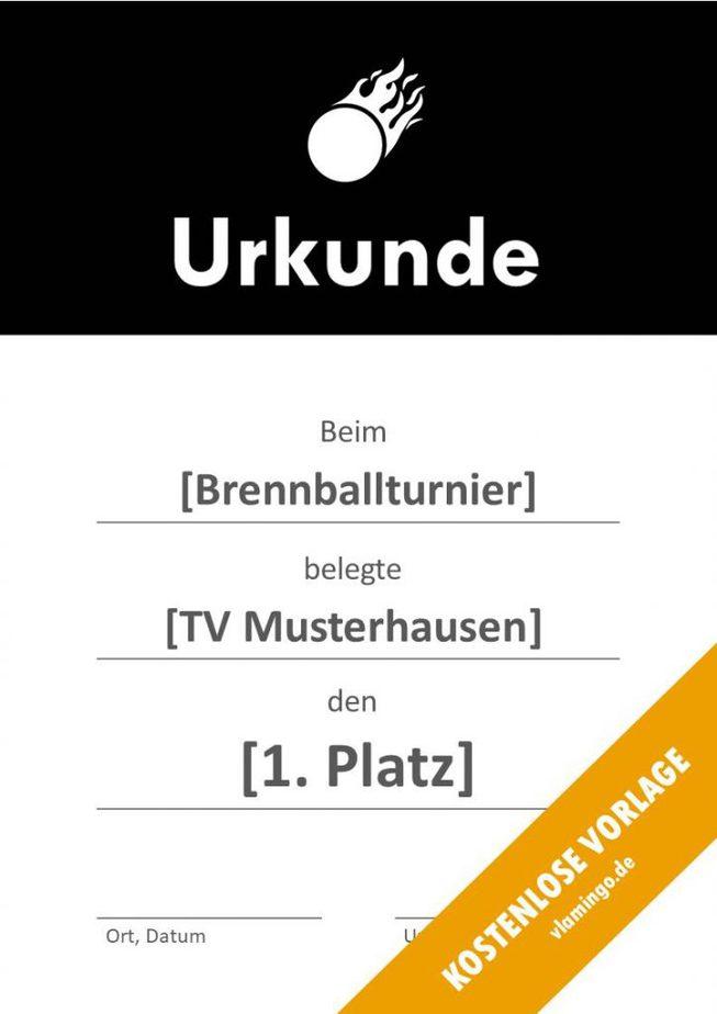Brennball-Urkunde (Vorlage) - mit Banner 1