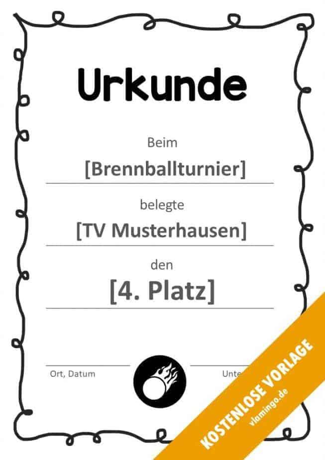 Brennball-Urkunde (Vorlage) - mit Rahmen 1