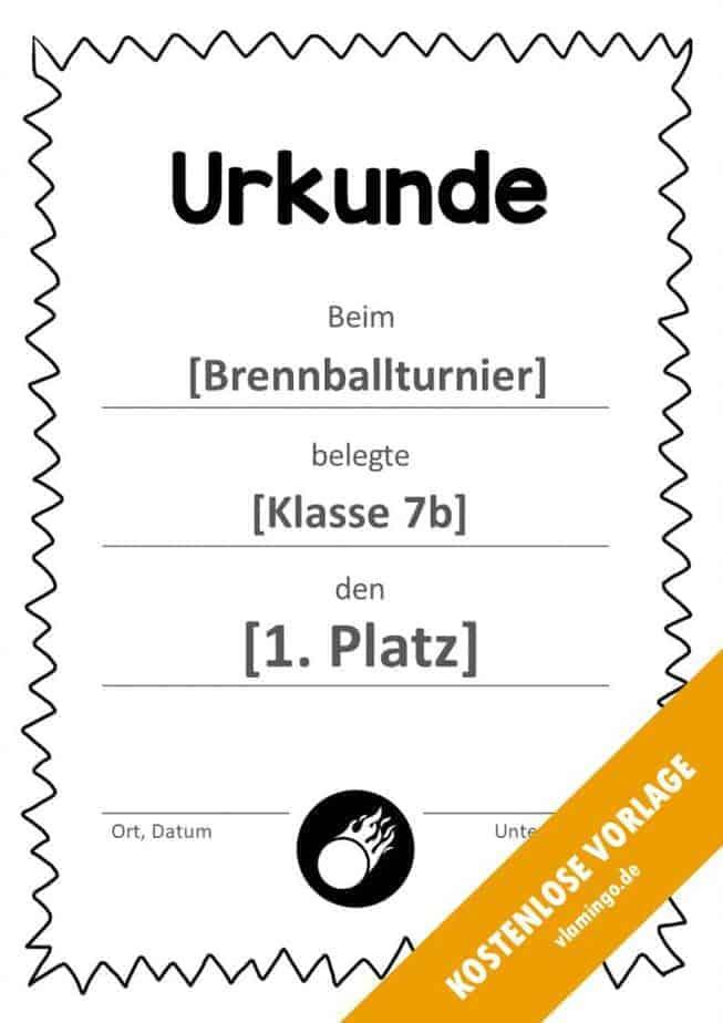 Brennball-Urkunde (Vorlage) - mit Rahmen 3