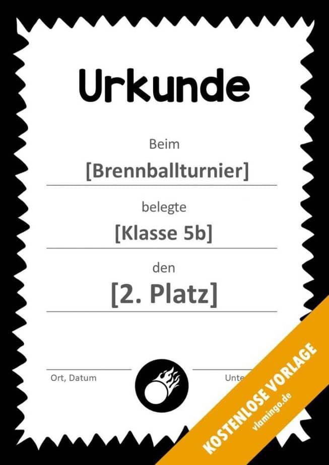 Brennball-Urkunde (Vorlage) - mit Rahmen 4