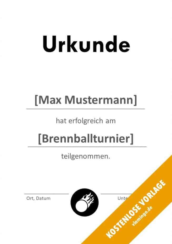 Brennball-Urkunde (Vorlage) - Teilnahme Bescheinigung