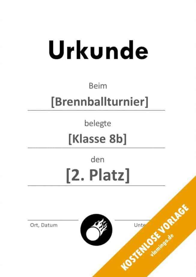 Brennball-Urkunde (Vorlage) - schlicht