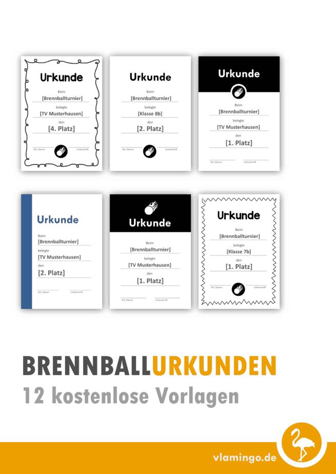 Brennball-Urkunden: 12 kostenlose Vorlagen