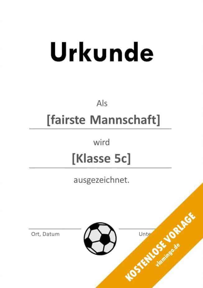 Fußball - Urkunde (Vorlage): besondere Auszeichnung