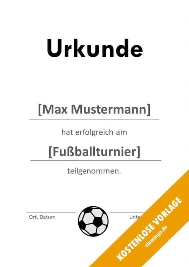 Fußball - Urkunde (Vorlage): Erfolgreiche Teilnahme