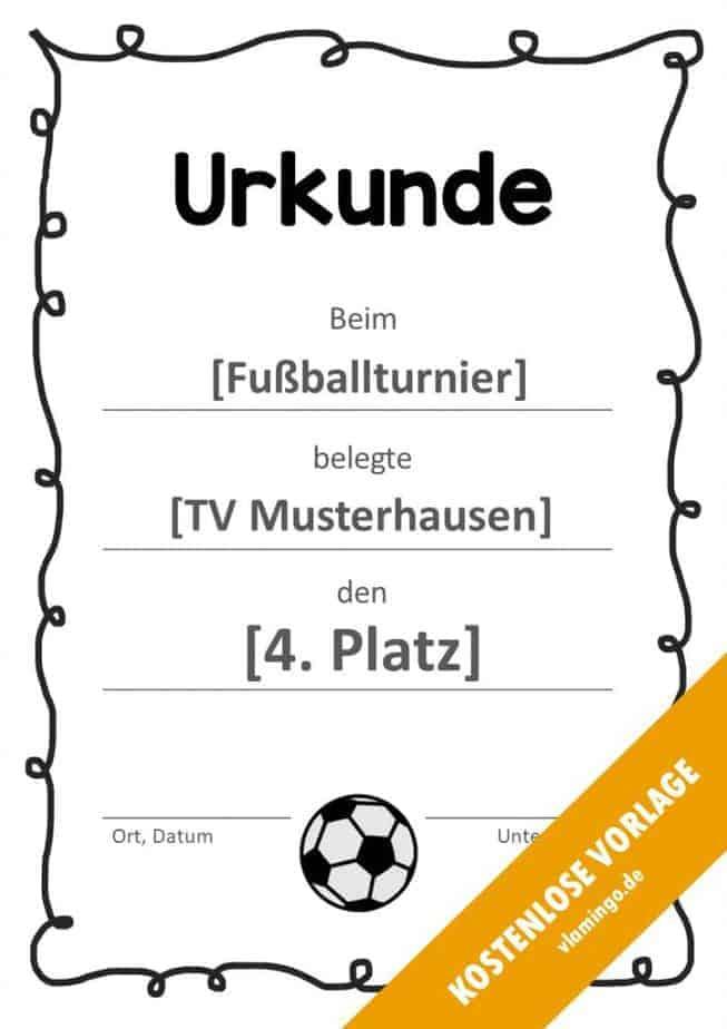 Fußball - Urkunde (Vorlage): Geschwungenes Muster