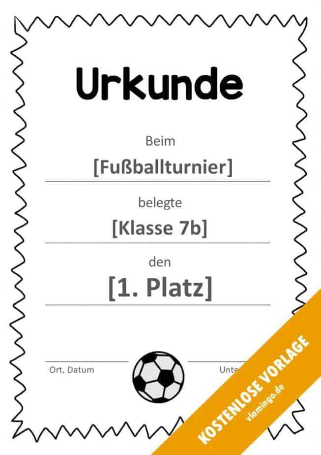Fußball - Urkunde (Vorlage): Gezackte Umrandung