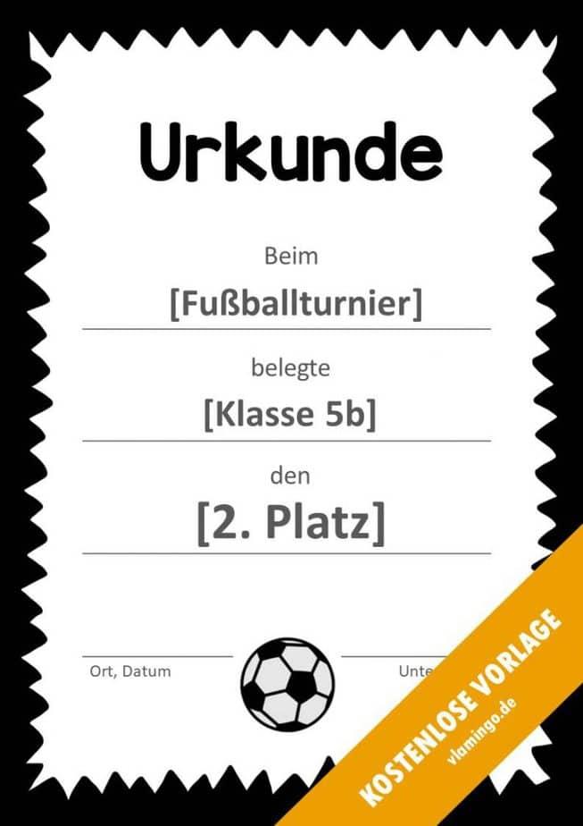 Fußball - Urkunde (Vorlage): Gezackter Rahmen in schwarz