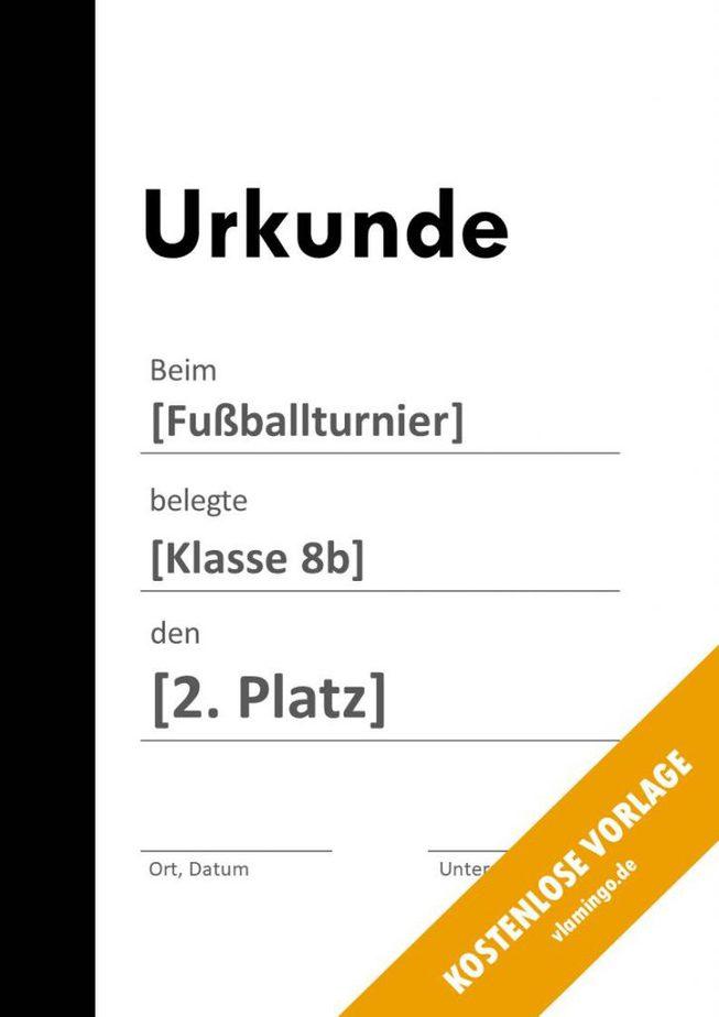 Fußball - Urkunde (Vorlage): Schwarzer Balken links