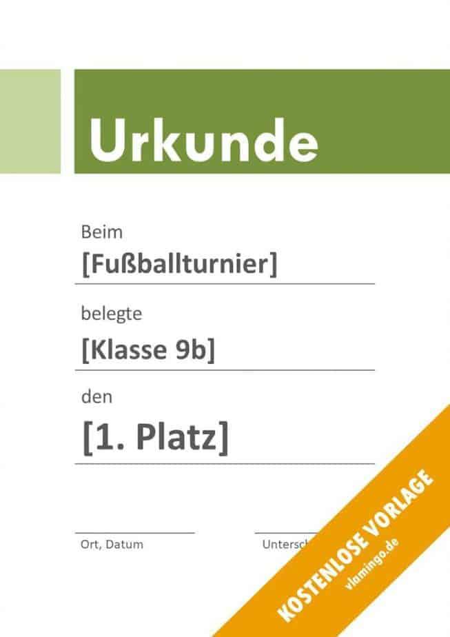 Fußball - Urkunde (Vorlage): Grüner Banner