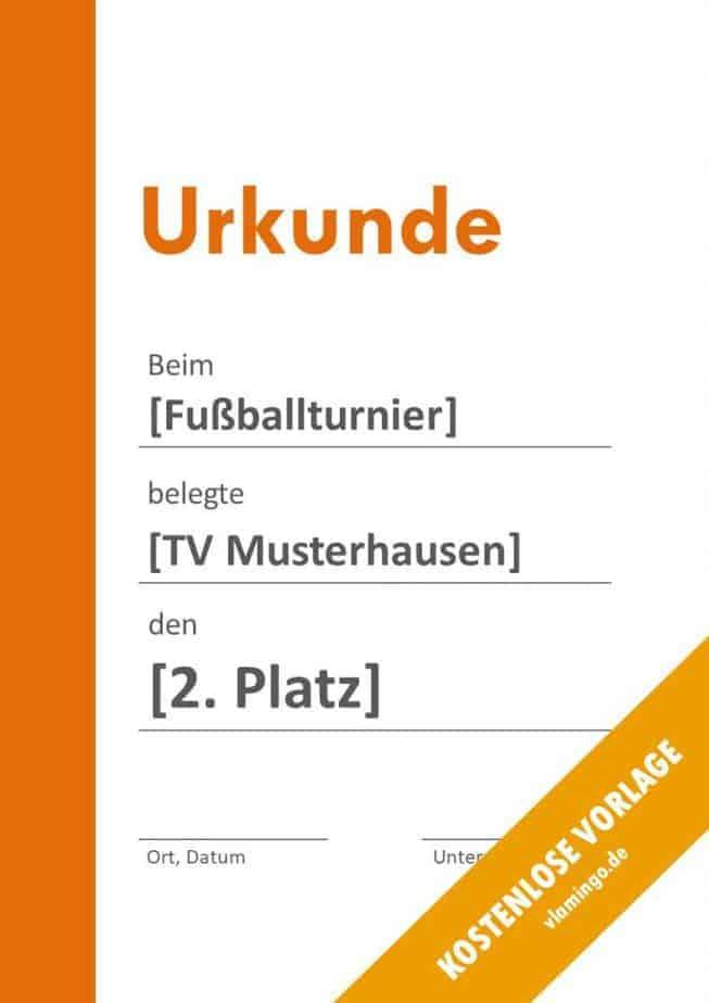 Fußball - Urkunde (Vorlage): Oranger Balken links