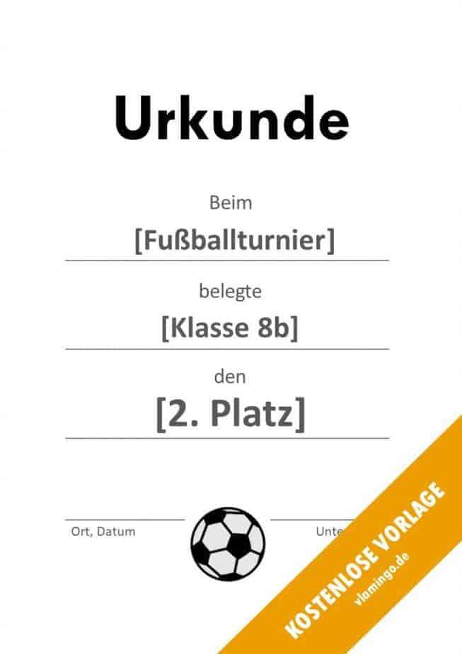 Fußball - Urkunde (Vorlage): Schlichte Version
