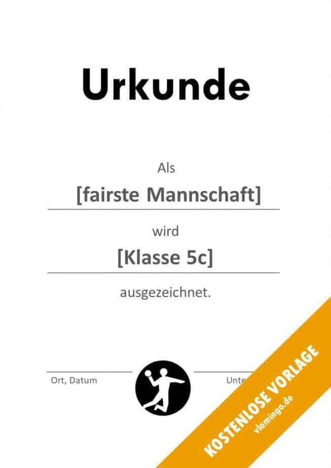 Handball-Urkunde (Vorlage) - Anerkennung