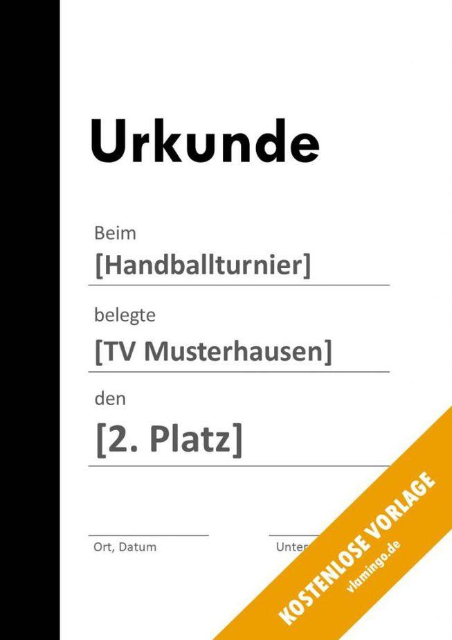 Handball-Urkunde (Vorlage) - Balken links schwarz