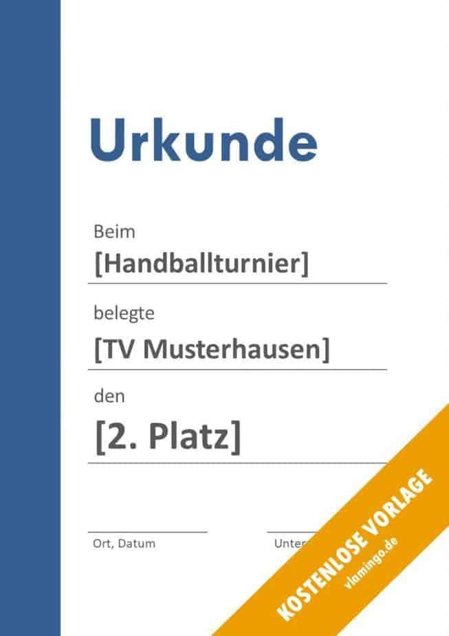 Handball-Urkunde (Vorlage) - Banner links blau