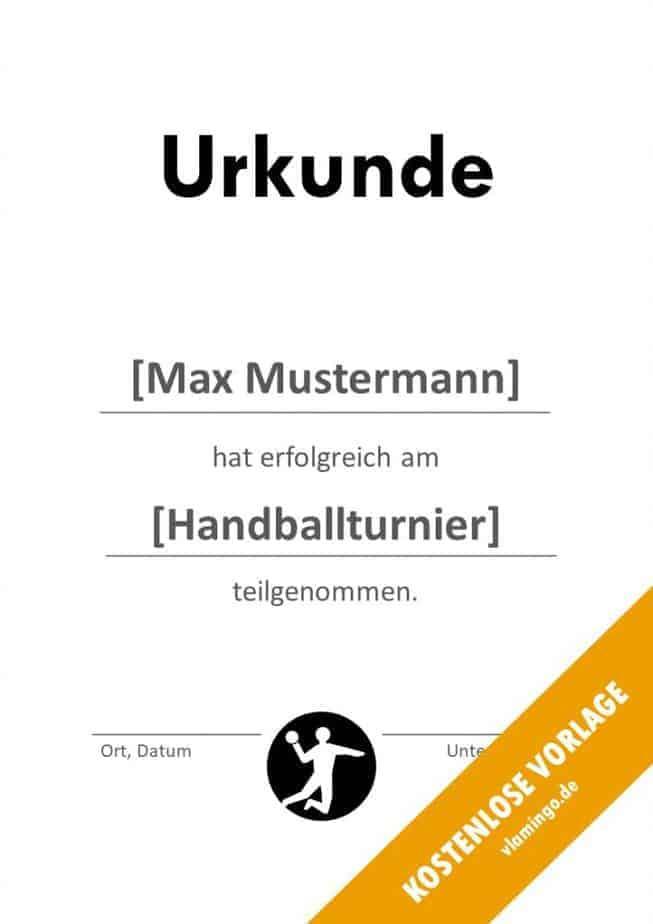 Handball-Urkunde (Vorlage) - Teilnahme Bescheinigung