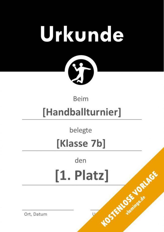 Handball-Urkunde (Vorlage) - mit Banner 2