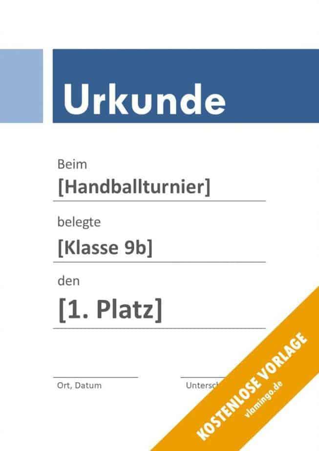 Handball-Urkunde (Vorlage) - mit Banner 3