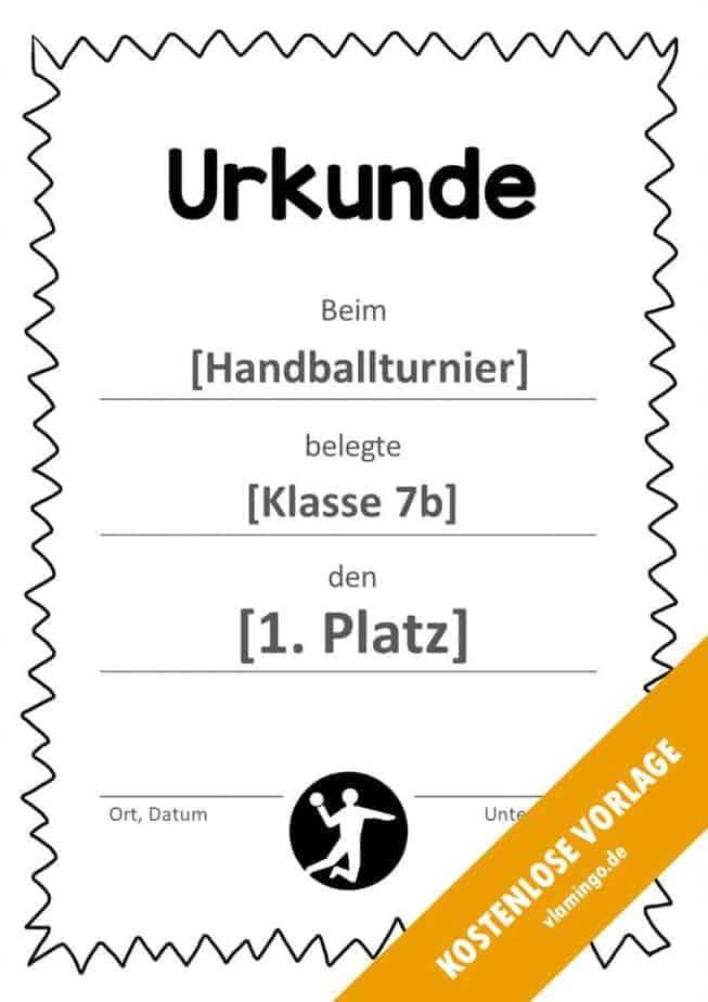 Handball-Urkunde (Vorlage) - mit Rahmen 3