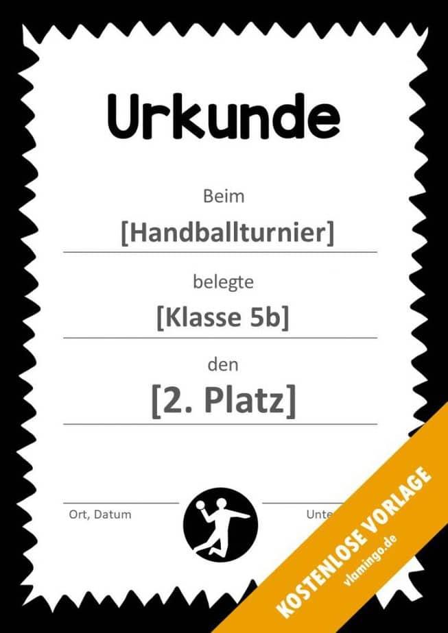 Handball-Urkunde (Vorlage) - mit Rahmen 4