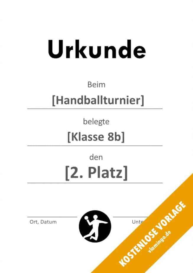 Handball-Urkunde (Vorlage) - schlicht