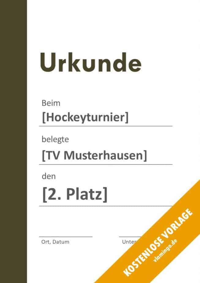 Hockey-Urkunde (Vorlage mit Balken 2)