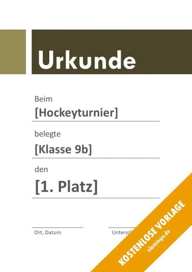 Hockey-Urkunde (Vorlage mit Banner 3)