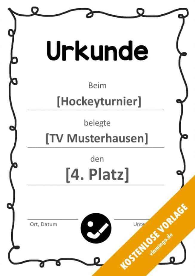 Hockey-Urkunde (Vorlage mit Rahmen 1)