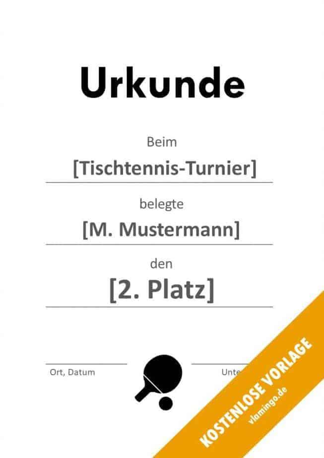 Tischtennis - Urkunde - Vorlage