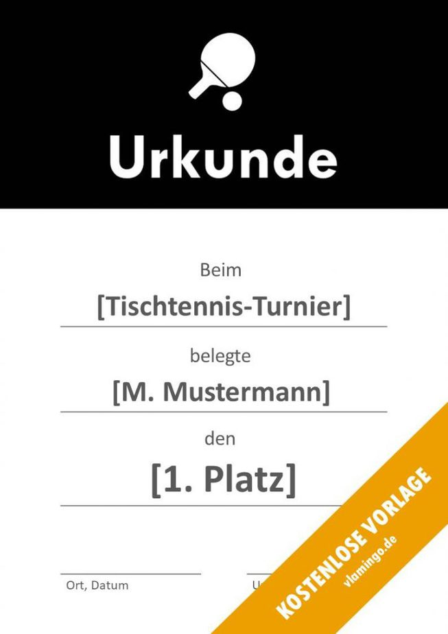 Tischtennis - Urkunde - Vorlage - Banner 1