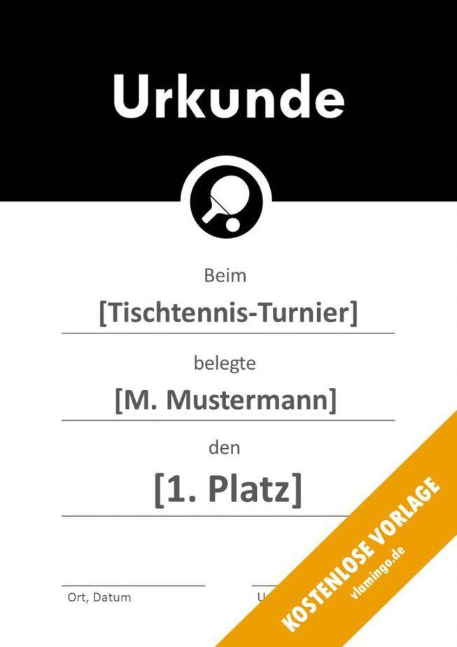 Tischtennis - Urkunde - Vorlage - Banner 2