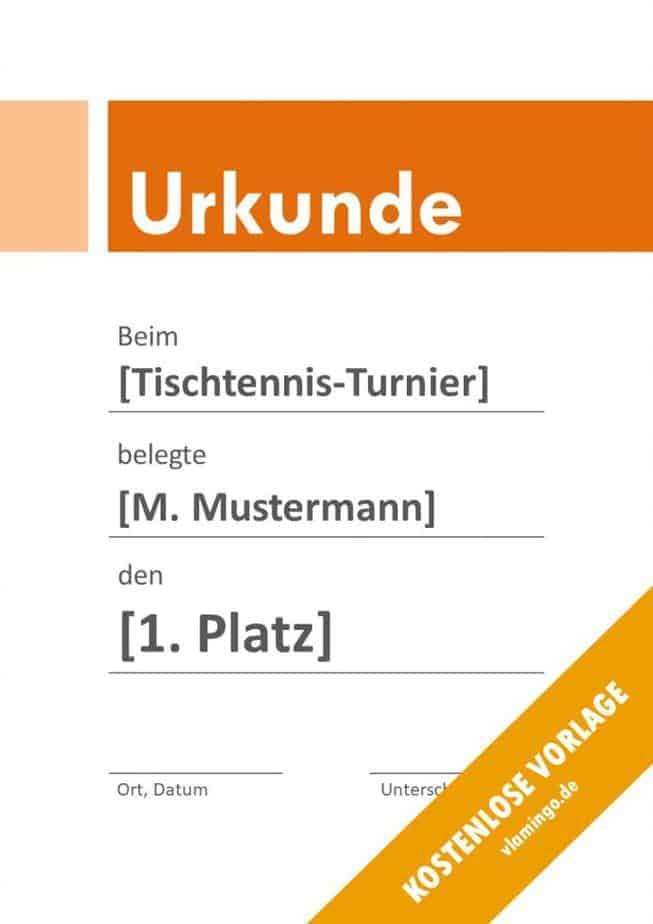 Tischtennis - Urkunde - Vorlage - Banner 3