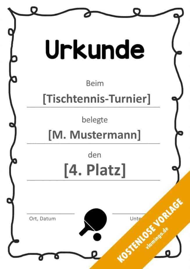 Tischtennis - Urkunde - Vorlage - Rahmen 1
