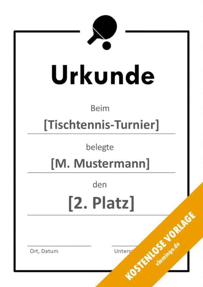 Tischtennis - Urkunde - Vorlage - Rahmen 2