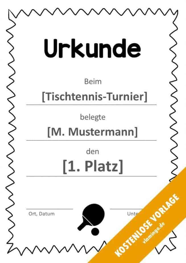 Tischtennis - Urkunde - Vorlage - Rahmen 3