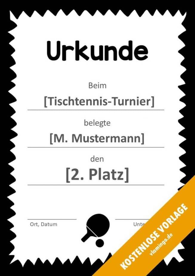 Tischtennis - Urkunde - Vorlage - Rahmen 4