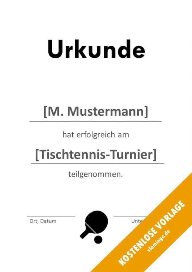 Tischtennis - Urkunde - Vorlage - Teilnahme