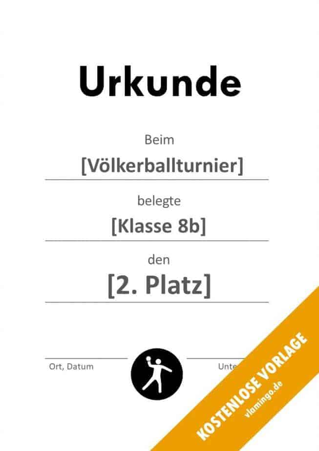Völkerball Urkunde Vorlage