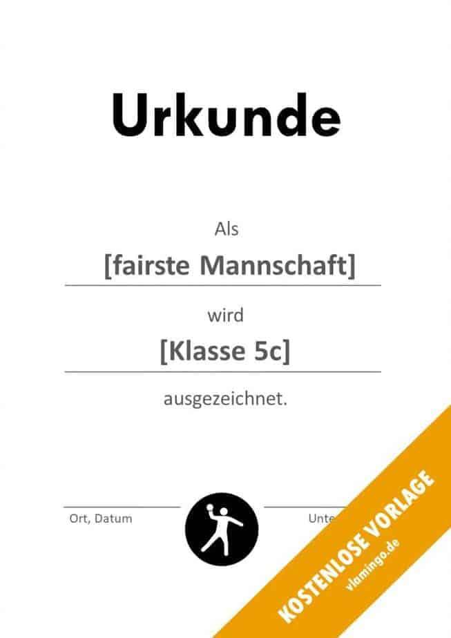 Völkerball Urkunde Vorlage Fair Play